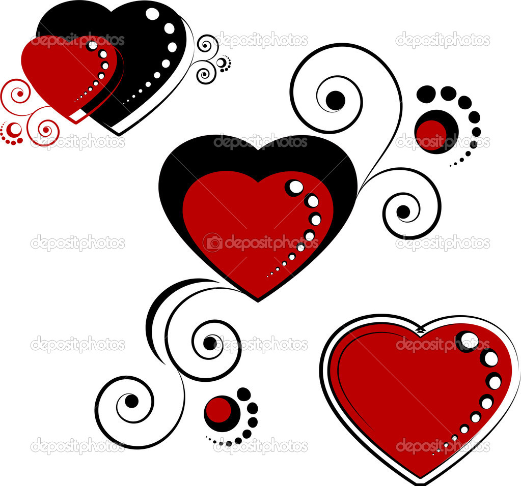 Hearts, design elements over white. EPS 8, AI, JPEG — Stock Vector #2012623