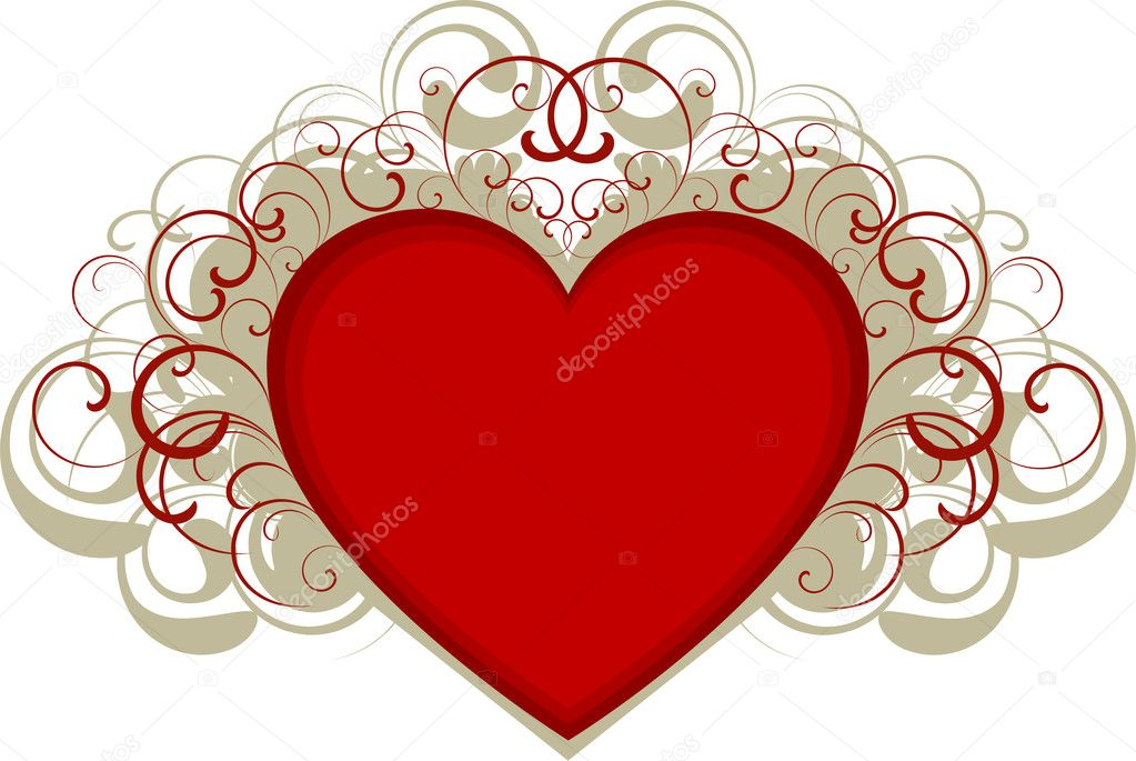 Heart with design elements over white. EPS 8, AI, JPEG  Stock Vector #2012686