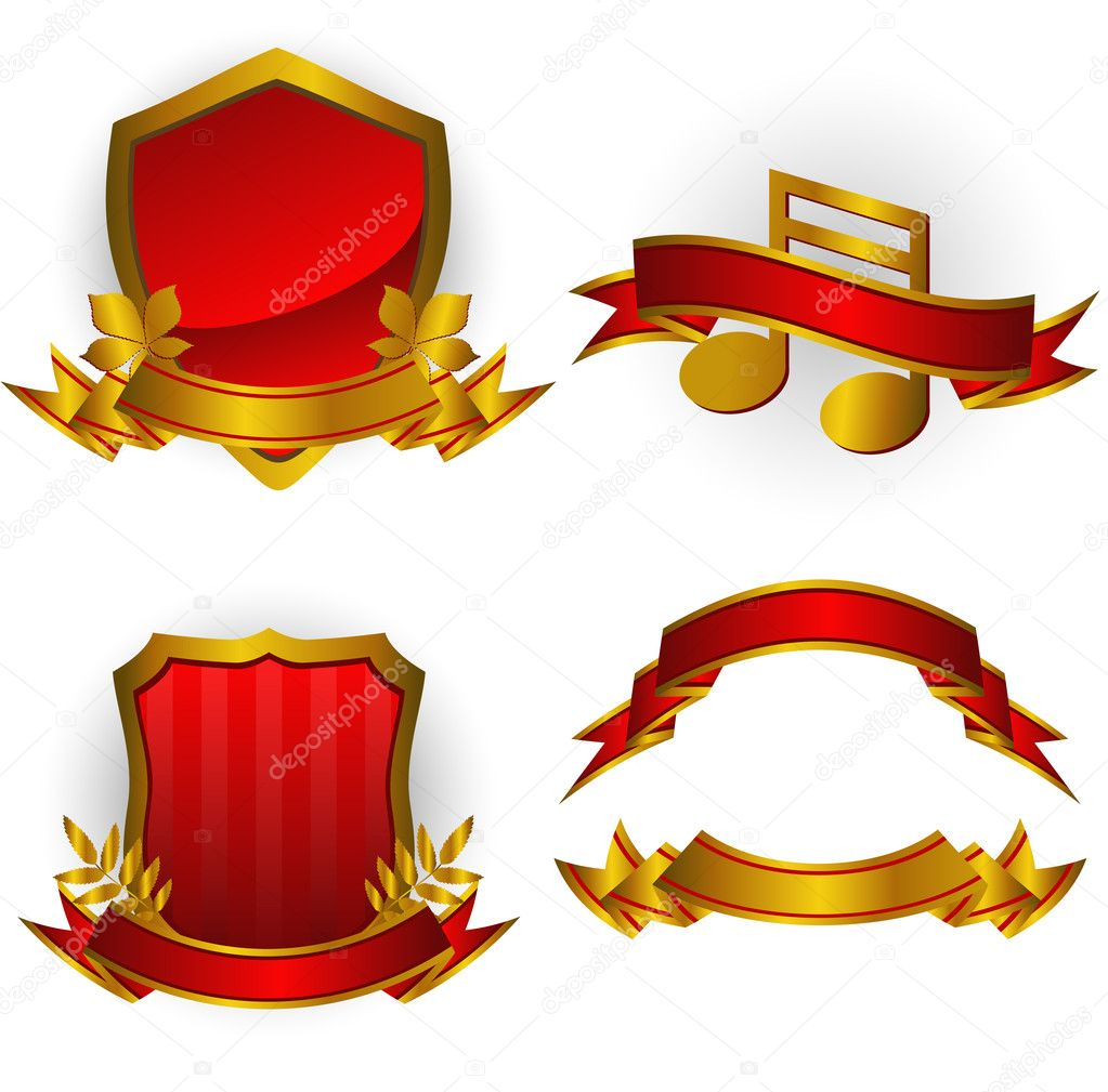 Set of red vector emblems and banners. Isolated on white. EPS 8, AI, JPEG — Imagen vectorial #2014339