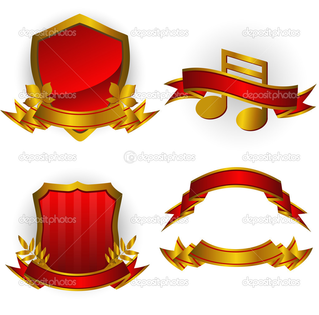 Set of red vector emblems and banners. Isolated on white. EPS 8, AI, JPEG  Imagens vectoriais em stock #2014339