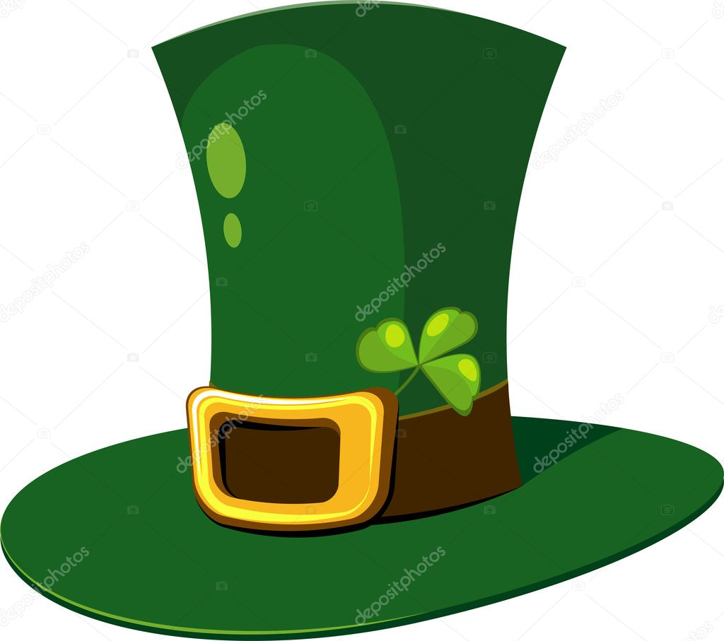 Leprechaun Hat with clover over white. EPS 8, AI, JPEG — Stock Vector #2180900