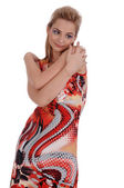Girl in a many-colored sundress — Stockfoto