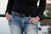 Hands in pocket — Stock Photo