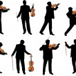 Stock Vector: Violin player vector silhouette
