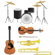 Stock Vector: Musical instruments illustrations