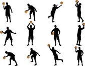 Basketball silhouettes — Stock Vector