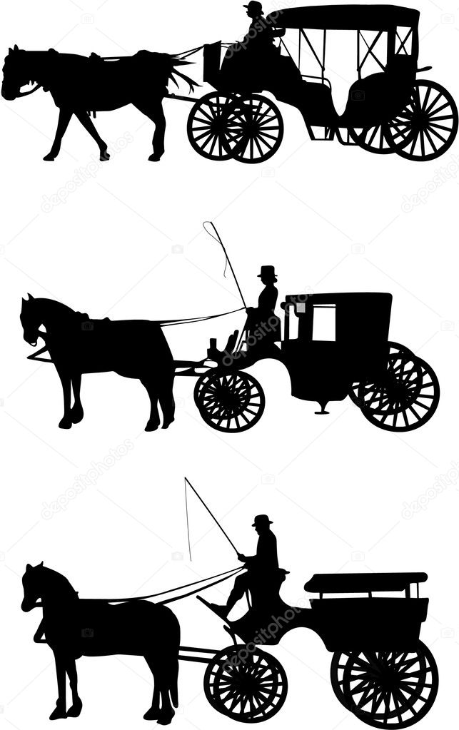 Horse Carriage Silhouette Carriage Silhouette Vector