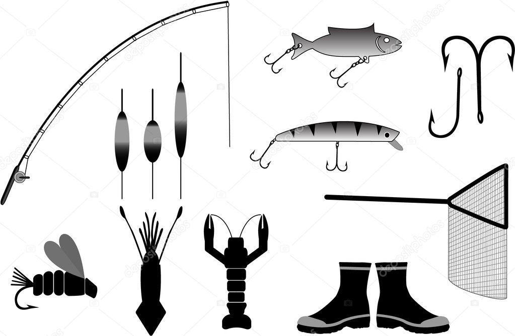 Рыболовные снасти векторные