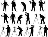 Photographer silhouettes — Stock Vector