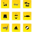 Stock Vector: Summer and beach icons