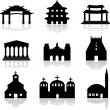 Stock Vector: Various temple and church illustrations