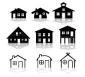 Simple house illustrations — Stock Vector