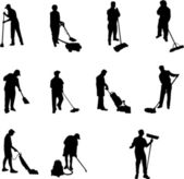 Janitor silhouettes — Stock Vector