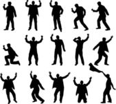 Happy man silhouettes — Stock Vector