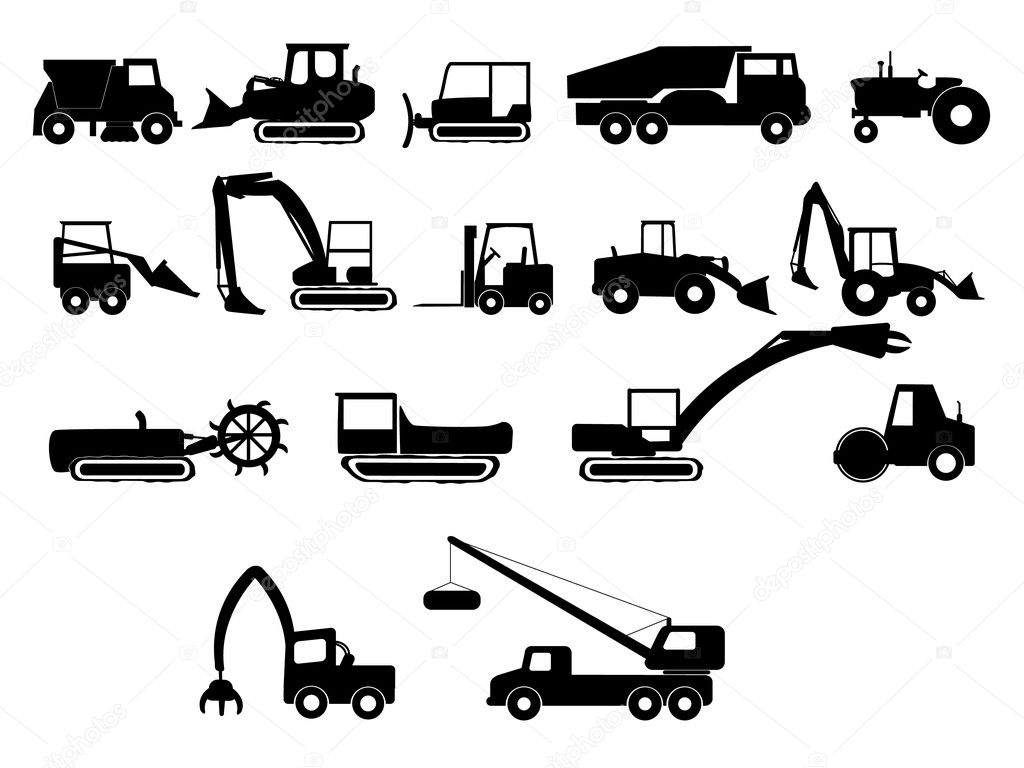 Heavy construction machines illustration stock illustration