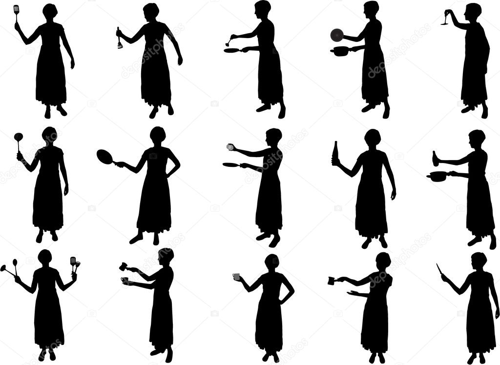 Girl cooking silhouettes  Stock Vector #1826286