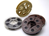 A bunch of old 8mm movie tapes — Stock Photo
