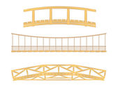 Wooden and hanging bridge illustration — Stock Vector