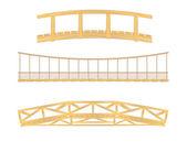 Illustration de pont en bois et suspendus — Vecteur