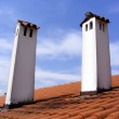 Red Roof with red tiles and chimney - cl — Stock Photo