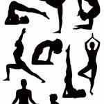 Yoga silhouettes - vector — Stock Vector #2461347