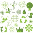 Set of green vector icons - eco concepti — Stock Vector