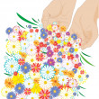 Hands sprinkling flowers everywherе - ve — Stock Vector