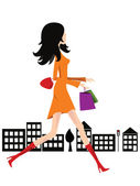 Shopping woman - vector — Stock Vector