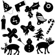 Christmas icons vector silhouettes — Stock Vector #2522166
