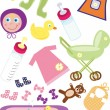 Baby Design Elements For Clip Art - Stock Vector