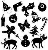 Christmas icons vector silhouettes — Stock Vector