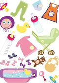 Baby Design Elements For Clip Art — Stock Vector