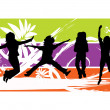 Jumping Silhouettes Vector — Stock Vector