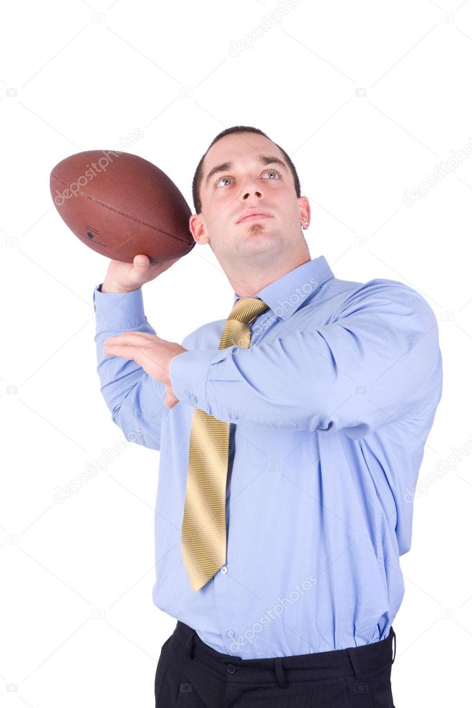 American football coach throw ball  Stock Photo #2143867
