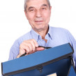Senior professor with handbag — Stock Photo