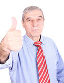 Politician in suit giving thumbs up — Stock Photo