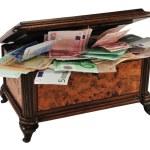 Treasure chest with money — Stock Photo #1776964