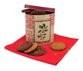 Biscuit box and cookies — Stock Photo