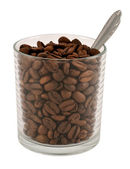 Coffee beans in glass — Stock Photo