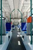 Longest articulated tram interier — Stock Photo