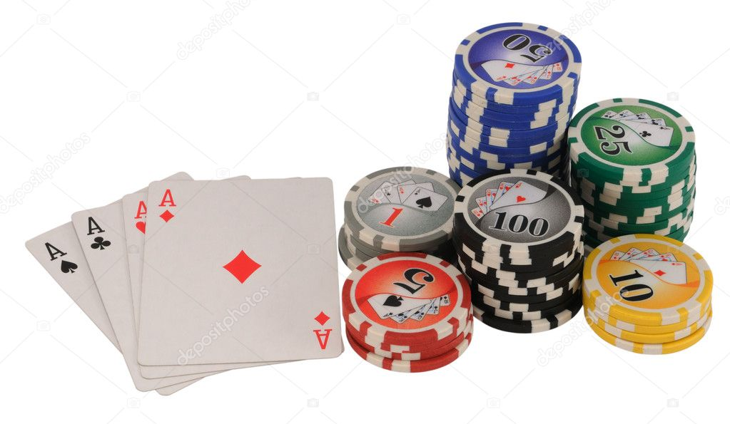 Four aces and poker chips representing a winning hand isolated on white.  Stock Photo #2126402