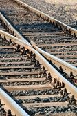 Crossed railway lines — Stock Photo
