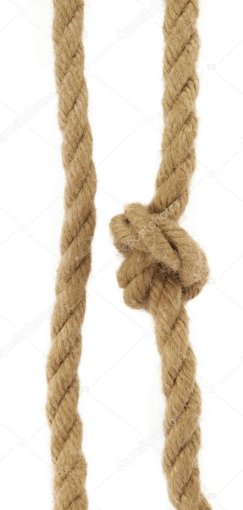 Two natural rope, one with knot on white background. — Zdjęcie stockowe #2141079
