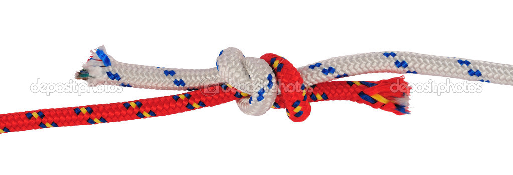 Detail of double fisherman or grapevine knot on different rope.Often used in rock climbing to tie two ropes of equal or different diameters together. — Stock Photo #2240425