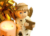 Christmas angel with gold wings, harp, f — Stock Photo