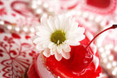 Sweet fruit red cake with cherry and whi — Stock Photo