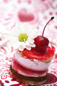 Sweet fruit red cake with cherry — Stock Photo