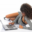 Young beautiful businesswoman working on noteboo — Stock Photo