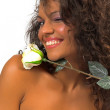 Beautiful woman with white rose — Stock Photo