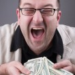 Business millionaire win the cash — Stock Photo